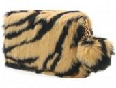 Q-K8.2 WA117-005 Soft Fake Fur Wallet with Pompon 19x10cm Tiger Print Brown