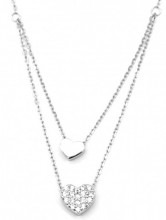 C-D6.4 SN104-267 925S Silver Necklace Layered with 8mm CZ Heart