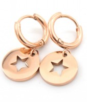 E-A2.2 E410-001 S. Steel Earrings 10mm with Star 12mm Rose Gold