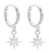 J-B10.1 SE104-534 925S Silver Earrings Star 10x16mm with CZ