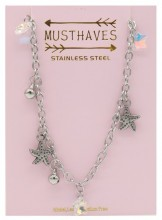 G-E8.4 N2053-005 S. Steel Necklace Starfish 36-39cm For Kids