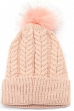 T-I7.1 HAT003-003B Hat with Fake Fur Pompon Pink