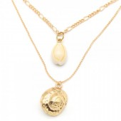 F-A20.2  N304-042 Necklace 2 Layers with Shells Gold