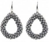 F-D17.3  E007-001H Facet Glass Beads 4.5x3.5cm Grey