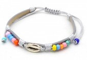 A-F4.3  B221-010 PU Bracelet with Beads and Metal Shell Grey