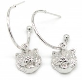 B-D20.5 E426-010 Earrings 20mm with Tiger 12mm Silver