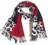 Y-B2.2 SCARF405-025C Soft Scarf Checkered Leopard 180x70cm Red
