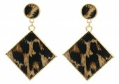 B-F2.3 E1631-031A Earrings Animal Print 5x3.5cm Gold