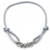 D-B9.3 B220-035S Satin with Stainless Steel Bracelet Chain Silver-Grey