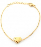 B-F19.9 B410-006 S. Steel Bracelet Heart 10mm Gold