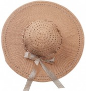 R-C7.1 HAT504-007A Hat with Ribbon and Chain Brown