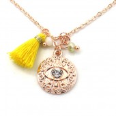 E-E22.2 N532-001R Necklace Tassel and Charm with Eye Rose Gold