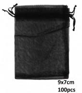 Q-J8.1 Organza Gift Bag 9x7cm Black 100pcs