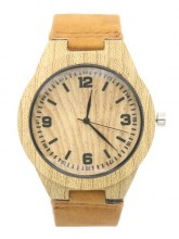 E-A23.1 W523-003 Quartz Watch With Pu Strap Wood Look 45mm Brown