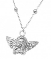 D-C15.3 N2043-019S S. Steel Necklace with 20mm Angel Silver