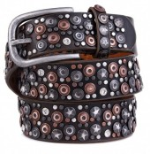 H-A7.1 FTG-060 PU with Leather Belt with Studs-Stars-Crystals 3.5x95cm Brown