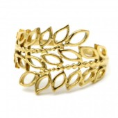 D-A14.2  R110199G S. Steel Ring Leaves Adjustable Gold