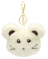 S-F8.3 KY2035-010D Fluffy Keychain Mouse 10x8x3cm White