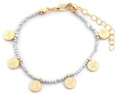 A-C16.1  B2039-018G Bracelet with Glass Beads and Coins Silver