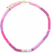F-F7.1 N536-103C Necklace LOVE 42-48cm Purple-Pink