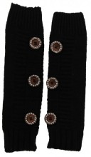 K-A4.2 Hand and Arm Warmers with Crystals and Buttons Black