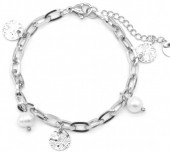 C-E22.2 B220-021S S. Steel Bracelet with Pearls and Coins Silver
