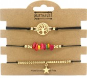 F-D15.2  B1936-024C Bracelet Set 3pcs Tree of Life - Star - Stones Black-Gold