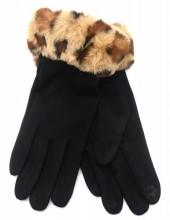 T-N3.2 GLOVE403-115A Gloves Fluffy Leopard Black