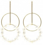 C-C9.3 E2019-008G Earring Circles with Faceted Glass Beads 55mm Gold