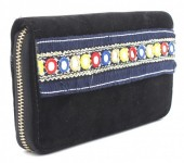 Q-I6.2 WA117-008 Bohemian Style Velvet Wallet 19x10cm Black