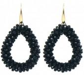 C-B9.2 E007-001 Facet Glass Beads 4.5x3.5cm Gold-Black