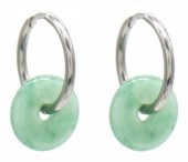 A-F4.5  E2121-056S S.Steel 20mm Earrings with 15mm Aventuring Silver