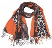 Y-C6.3 SCARF405-031A Soft Scarf Leopard- Snake 180x70cm Orange