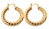 E-B3.1  E426-018 Twisted Earrings 40mm Gold