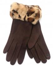 T-L2.1 GLOVE403-115C Gloves Fluffy Leopard Brown