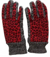 Warm Gloves with Leopard Print Grey-Red