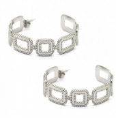 A-E9.2 E2033-015 S. Steel Earrings Chain 4cm Silver