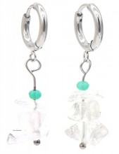 B-E8.2 E301-067S S. Steel Earrings with Stones 1.2x3cm Transparant