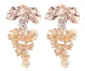 B-E22.2 E2019-007RG Earrings Faceted Glass Beads 40mm Brown-Rose Gold