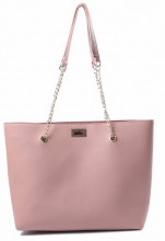 Y-F6.1 BAG417-005D PU Shopper with Metal Chain 44x35x10cm Pink