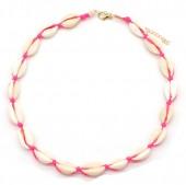 D-D8.2  N316-012 Choker Necklace Shells 37-43cm Pink