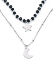 N519-001 Layered S. Steel Necklace Glassbeads-Star-Moon Silver