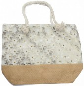 Y-D3.5 BAG217-023 Beach Bag with Wicker and Metallic with Beads  54x40cm