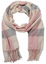 T-A6.2 SCARF405-052A Soft Checkered Scarf  180x70cm Pink