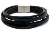 E-E9.2  B1642-015A S. Steel with Leather Bracelet 21cm Black