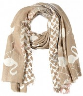 X-O4.3 S106-002 Square Scarf with Flamingos and Glitters 140x140cm Brown