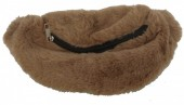 L-F8.1  BAG524-003B Soft Waist Bag Fluffy 30cm  Light Brown